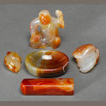 A group of five carnelian articles