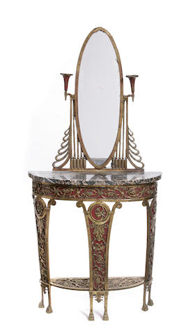 An Art Deco parcel gilt patinated metal console and pier mirror