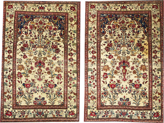 A Pair of Isphahan rugs  South Central Persia sizes approximately: 4ft. x 7ft. 5in. &  4ft. 9in. x 7ft. 6in.