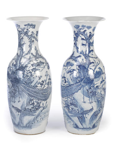 A pair of massive blue and white porcelain vases 19th century