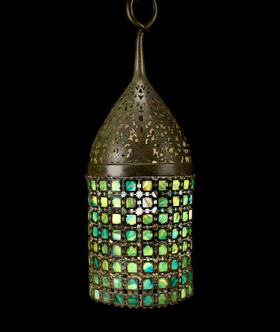 A Tiffany Studios Favrile glass and patinated-bronze Chain Mail lantern 1899-1918