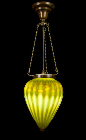 A Tiffany Studios decorated Favrile glass and patinated-bronze lantern 1899-1918