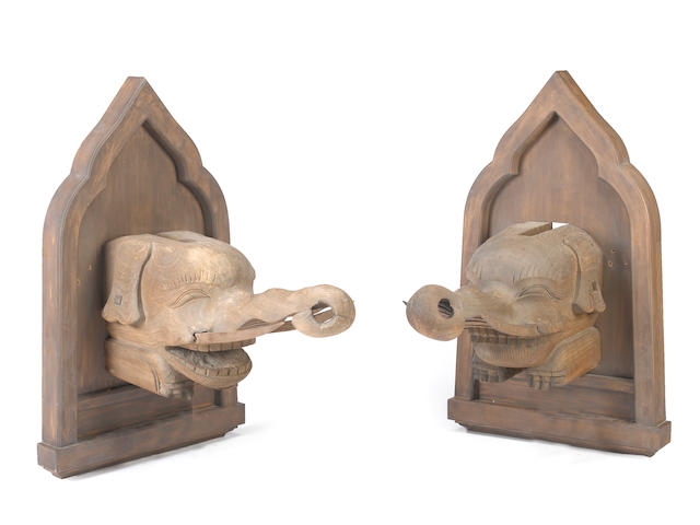 A pair of wood architectural fragments Edo period