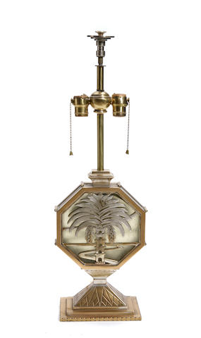 An Art Deco style gilt and silver metal and glass lamp
