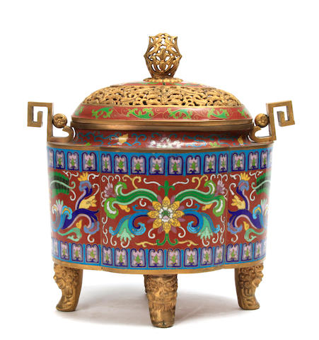 A Chinese cloisonné incense burner