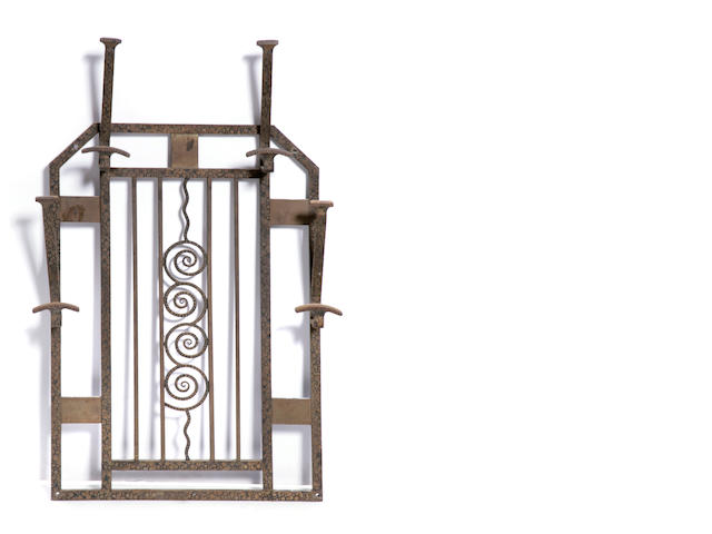 A French Art Deco wrought iron and metal coat rack
