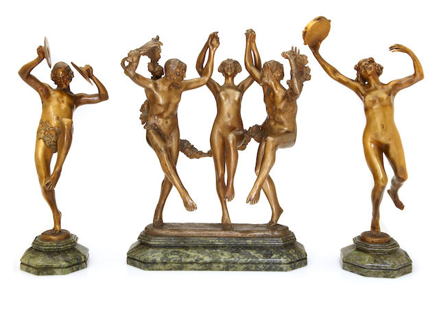 Eugène Désiré Piron (French, 1875-1928) Three-piece figural group: Musicians and Baccantes