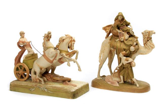 Two Royal Dux porcelain figural groups
