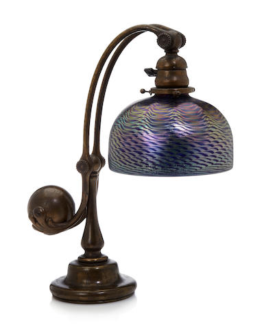 A Tiffany Studios Favrile glass and statuary bronze counter balance desk lamp 1899-1918