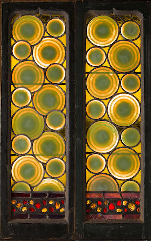Two important Tiffany Studios leaded glass bullseye rondel and chipped glass windows Designed for St. Mark's Church, Islip, Long Island, 1887