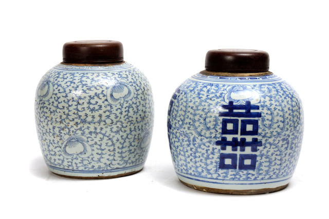 Two Chinese blue and white porcelain ginger jars<BR />19th century