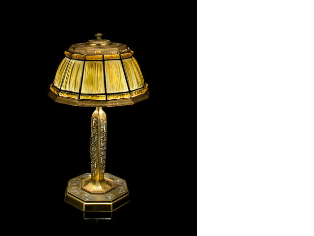 A Tiffany Studios Favrile glass and gilt-bronze Linenfold Abalone desk lamp  1899-1918