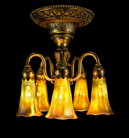 A rare Tiffany Studios Favrile glass and gilt-bronze five-light Lily ceiling fixture 1899-1918