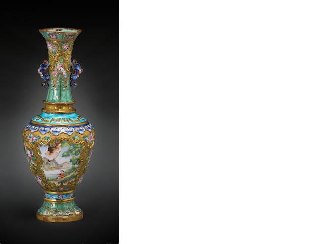 An export enameled and gilt copper vase