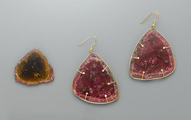 Pair of Pink Tourmaline and Diamond Earrings together with a Watermelon Tourmaline Slice