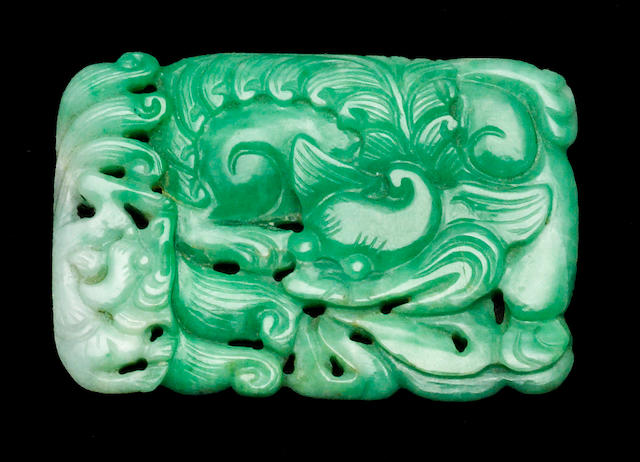 An apple green jadeite pendant