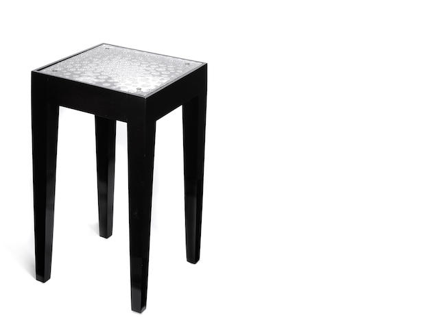 A René Lalique molded glass and mahogany end table: Plateau Perle Aster Marcilac 23, model introduced 1935