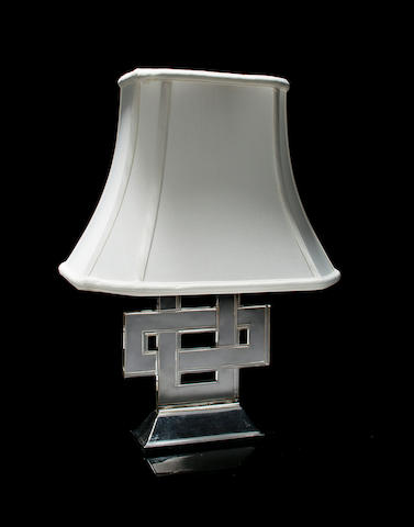 A René Lalique clear glass and silvered-metal lamp base: Entrelacs Marcilac 2161, model introduced 1926