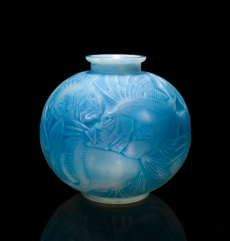A René Lalique cased opalescent glass vase: Poissons Marcilac 925, model introduced 1921