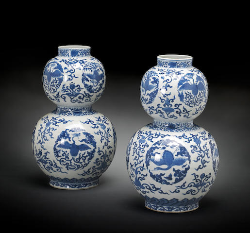 A pair of blue and white double gourd vases Wanli marks, 19th Century