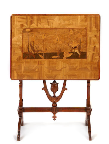 A Gallé carved fruitwood and marquetry inlaid tilt-top table circa 1900