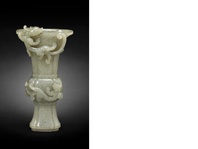 A lobed jade vase, gu 19th/20th century