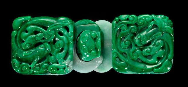 A fine apple green jade two-section belt buckle