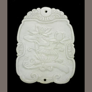 A white jade pendant 19th Century