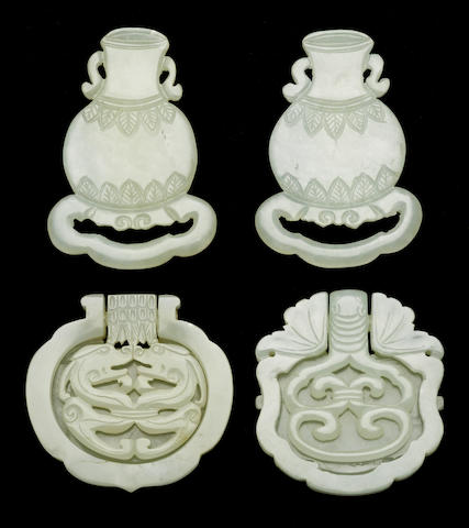 A group of four jade belt ornaments 19th century