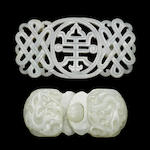 Two white jade belt buckles 19th Century