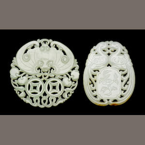Two reticulated jade pendants 19th Century