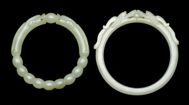 Two jade bangles 19th Century