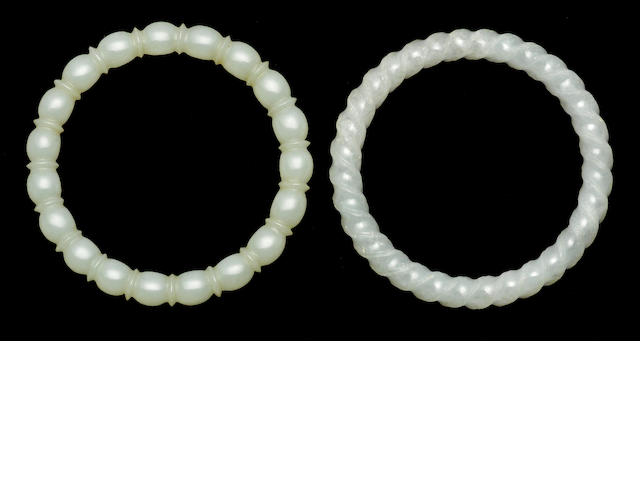 Two white jade bangles
