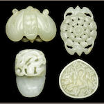 Four white jade belt ornaments 17th-19th Centuries