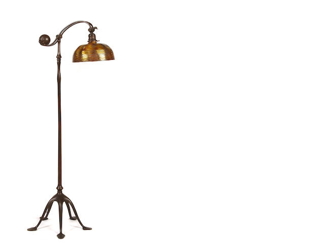 A Tiffany Studios Favrile glass and bronze counter balance floor lamp 1899-1918