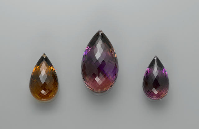Suite of Three Ametrine/Citrine Drops—A  Member of the 100 Carats Club