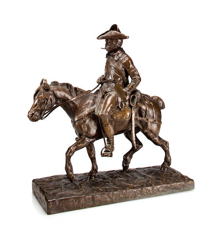 Patinated bronze of a Napoleonic soldier on horseback, by Emmanuel de Santa Coloma, signed 'Santo Coloma' on base