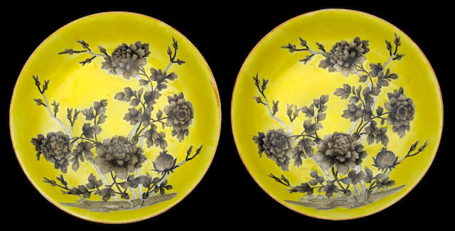 A pair of grisaille and yellow glazed porcelain dishes  Qianlong mark, Republic period