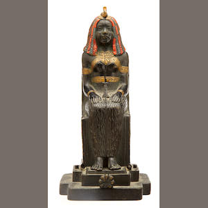 A Franz Bergman cold painted bronze metamorphic Egyptian sarcophagus early 20th century