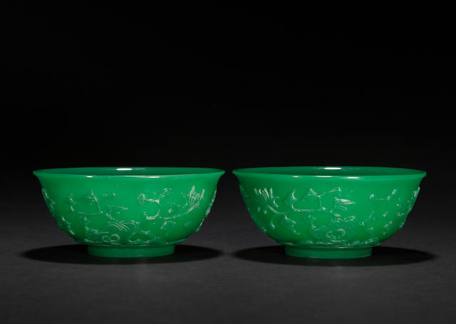A pair of opaque green glass bowls  18th/19th century