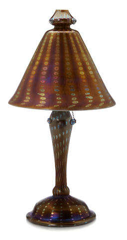 A Tiffany Studios applied Favrile glass Arabian lamp 1899-1918