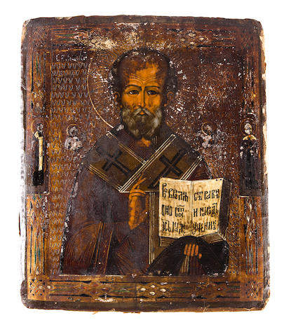 Icon of Saint Nicholas, late 19th/early 20th century, 12 x 9 1/2in, losses to pigment in several areas