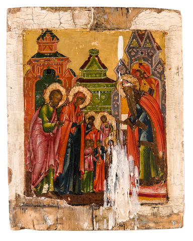 Icon Entrance of Theotokos (Mother of God) to the Temple, early 19th century, 12 x 9in, wax deposit in front, losses to pigment in several areas