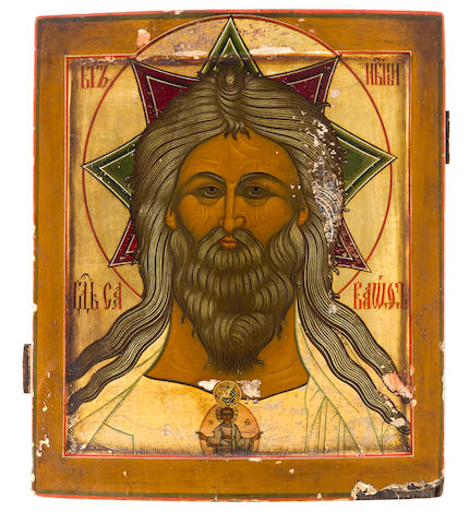 Icon Holy God Saboath, late 19th/early 20th century, 11 1/2 x 9 3/4in