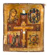Two Russian icons depicting the Crucifixion with four calendar icons and an icon of Appearance of Mother of God to St. Sergii<BR />