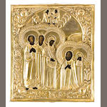 Icon of Crucifixion with four calendar icons, 19th/20th century, together with Icon of Appearance of Mother of God to St. Sergii (in brass cover), 19 x 16in, losses to pigment