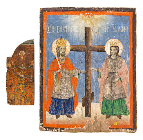 A Greek Icon of Sts. Konstantin and Elena and a fragment of another icon<BR />probably 19th century