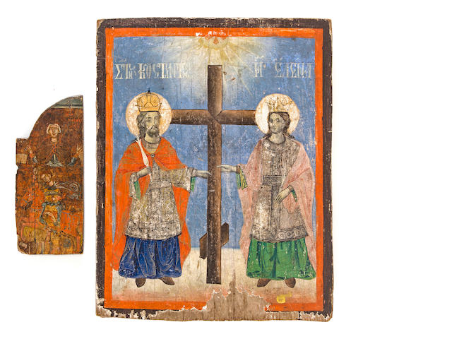 Icons of Sts. Konstantin and Elena, Greek, 19th century, together with partial piece of icon, 15 3/4 x 12in; 8 1/2 x 3 1/2in