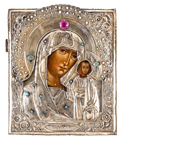 Icon of Mother of God of Kazan in silver cover, Russia, city of Astrakhan, 1891, silver cover with marks of T. Videneev, 12 1/2 x 11in