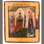 Icon of Annunciation, late 18th/early 19th century, 12 1/2 x 11in